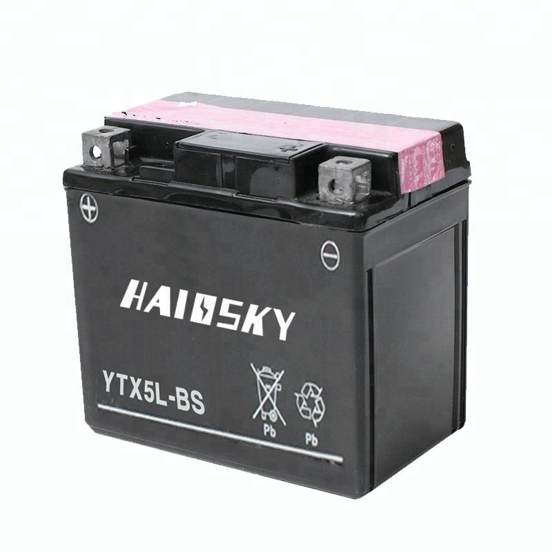 YTX5L-BS Dry Charged MF Lead Acid 12v 5ah Motorcycle Battery