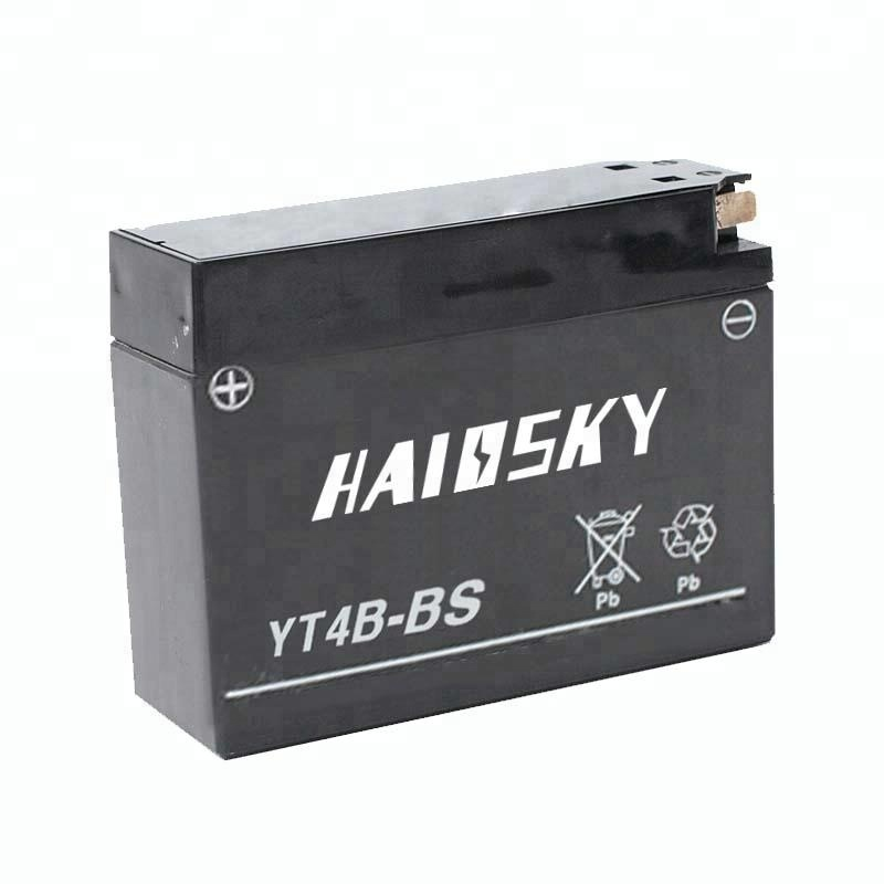 YT4B-BS 12v 2.3ah dry charged MF lead acid motorcycle battery